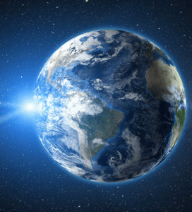 sunrise view from space on planet earth 3d render y3brwsn